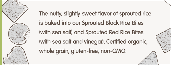 The nutty, slightly sweet flavor of sprouted rice is baked into our Sprouted Black Rice Bites (with sea salt) and Sprouted Red Rice Bites (with sea salt and vinegar). Certified organic, whole grain, gluten-free, non-GMO.
